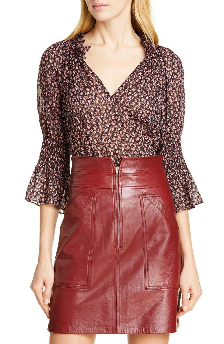 REBECCA TAYLOR Floral Ruffle Detail Silk & Cotton Blouse, Main, color, 482