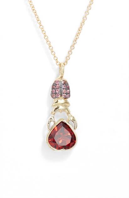 Daniela Villegas Khepri Sapphire & Garnet Pendant Necklace In Yellow Gold