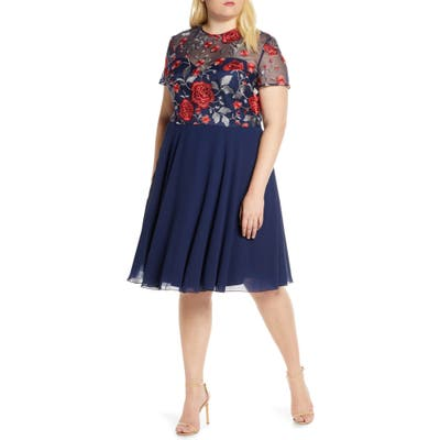 Plus Size Chi Chi London Curve Meryn Embroidered Chiffon Cocktail Dress, Blue