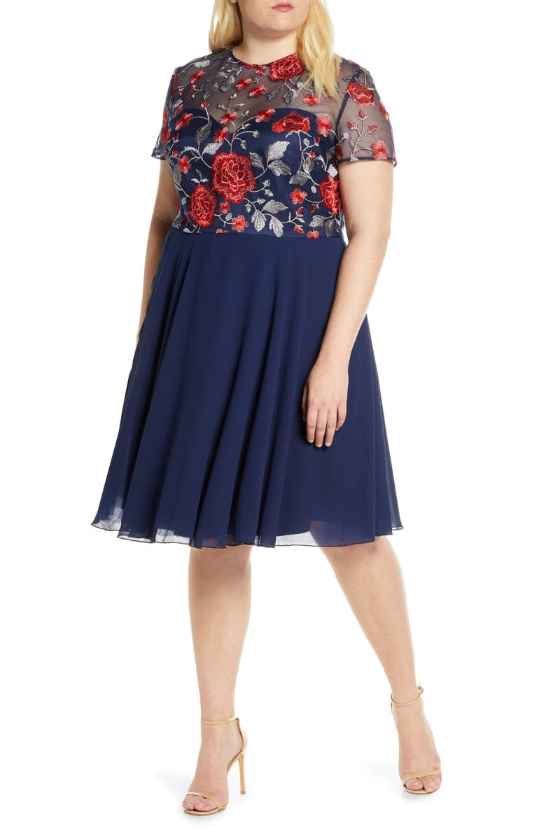 CHI CHI LONDON Curve Meryn Embroidered Chiffon Cocktail Dress, Main, color, NAVY