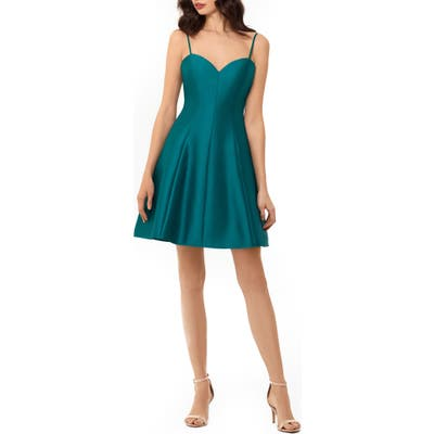 Xscape Bow Back Mikado Party Dress, Blue/green