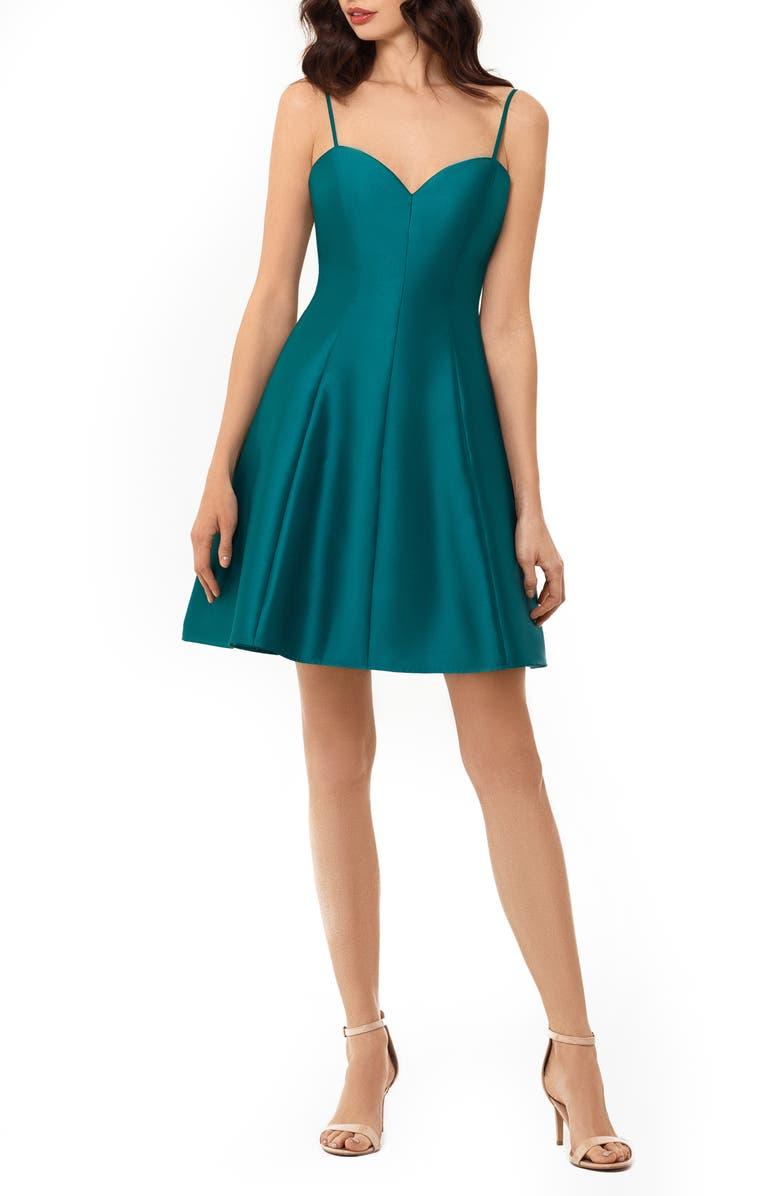 XSCAPE Bow Back Mikado Party Dress, Main, color, TEAL