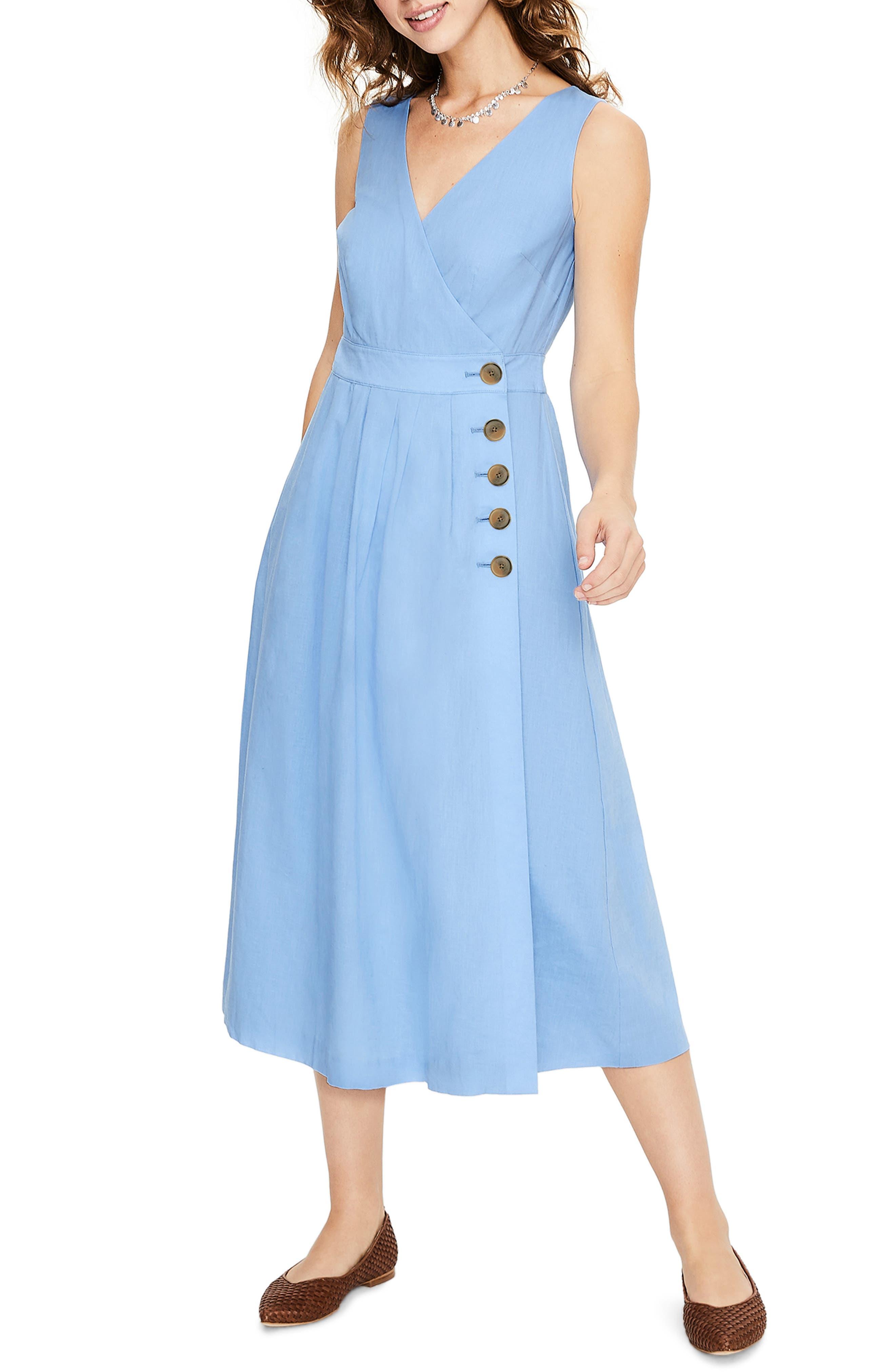 Petite Boden Arwen Wrap Midi Dress, Blue