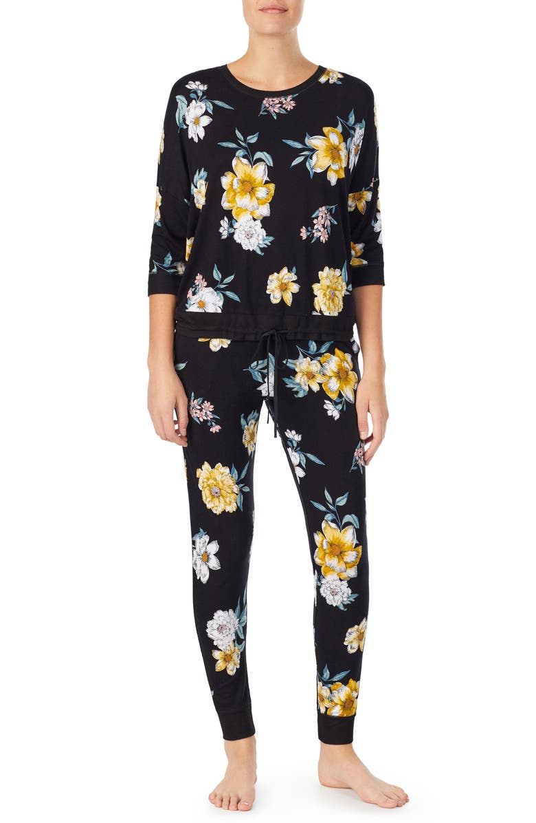 ROOM SERVICE Jersey Pajamas, Main, color, BLACK FLORAL
