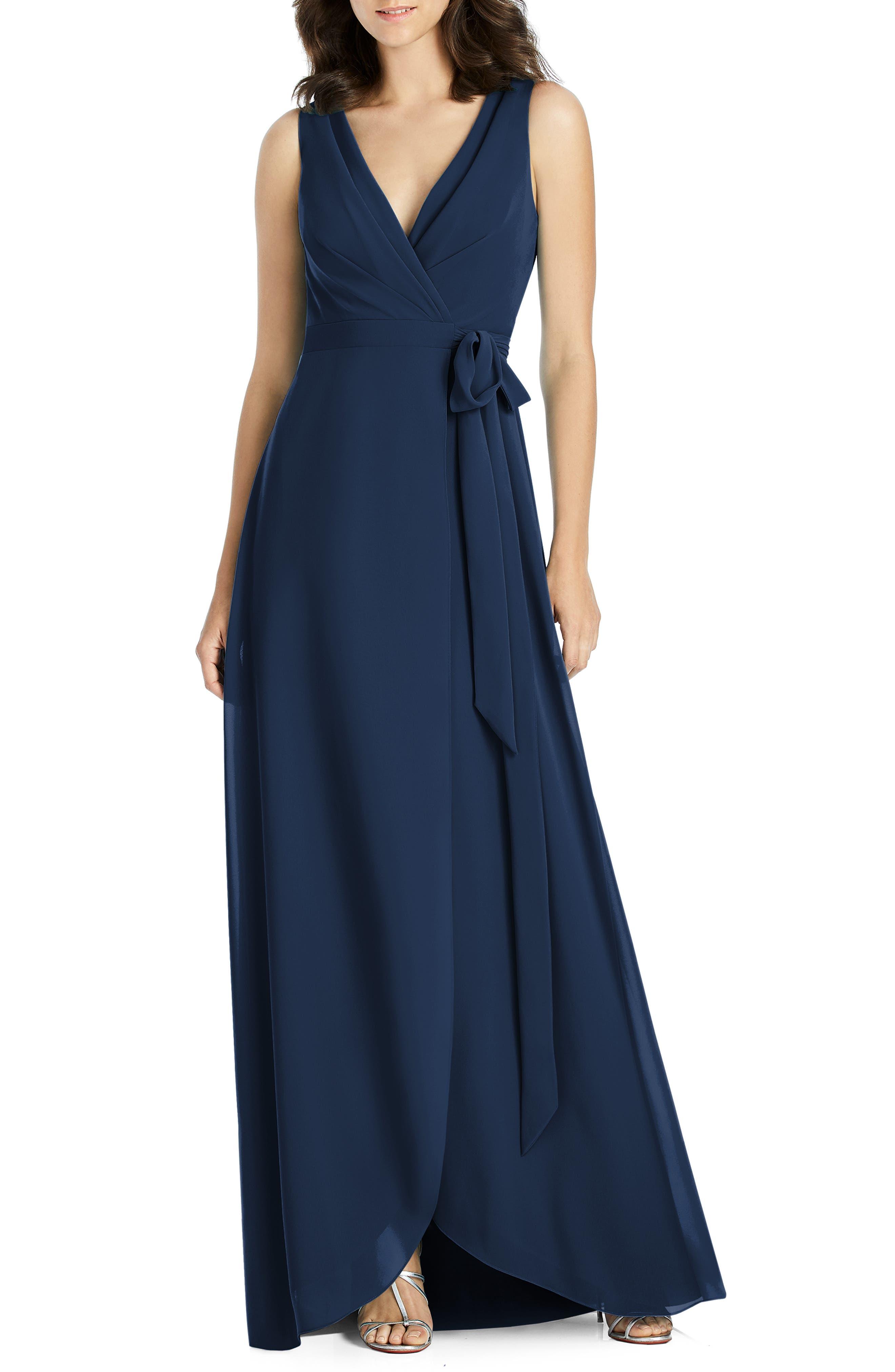 Jenny Packham Chiffon Wrap Evening Dress, Blue