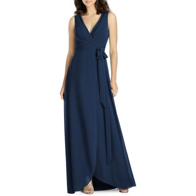 Jenny Packham Chiffon Wrap Evening Dress, Blue