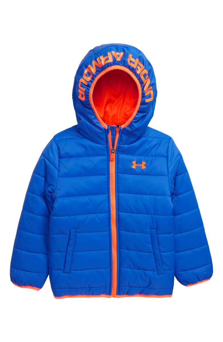 UNDER ARMOUR Storm Pronto Water Repellent Hooded Puffer Jacket, Main, color, POWDERKEG BLUE