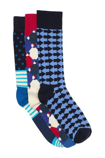 Image of Happy Socks Printed Crew Socks - Pack of 3
