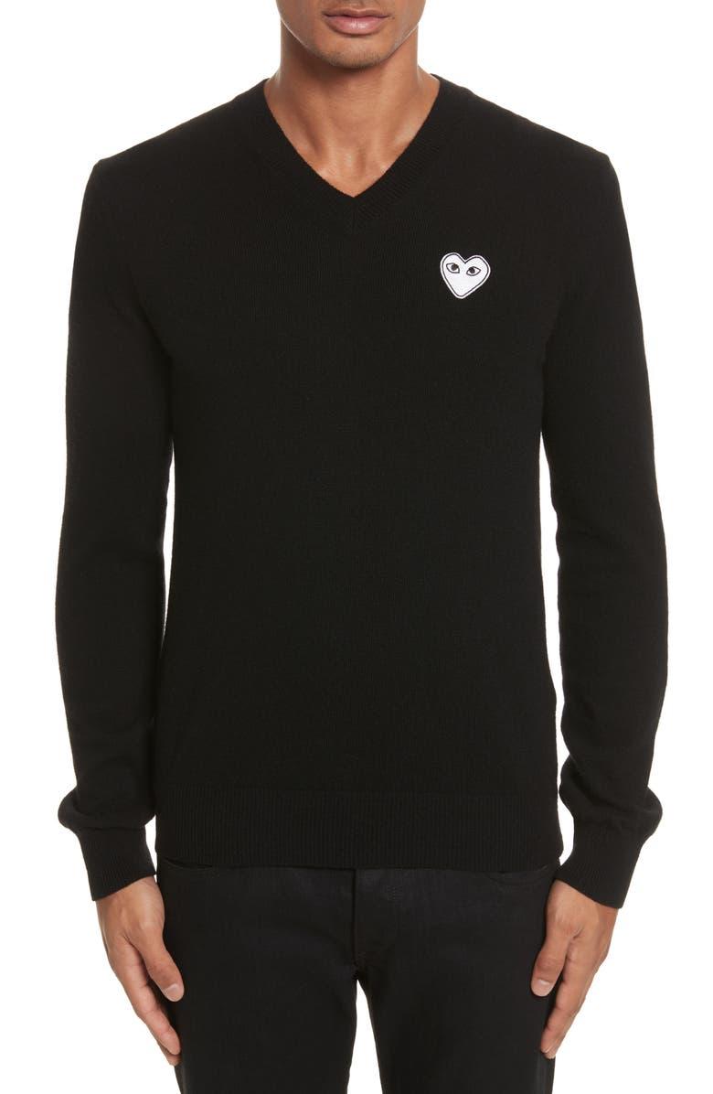 COMME DES GARÇONS PLAY White Heart Wool V-Neck Sweater, Main, color, 001