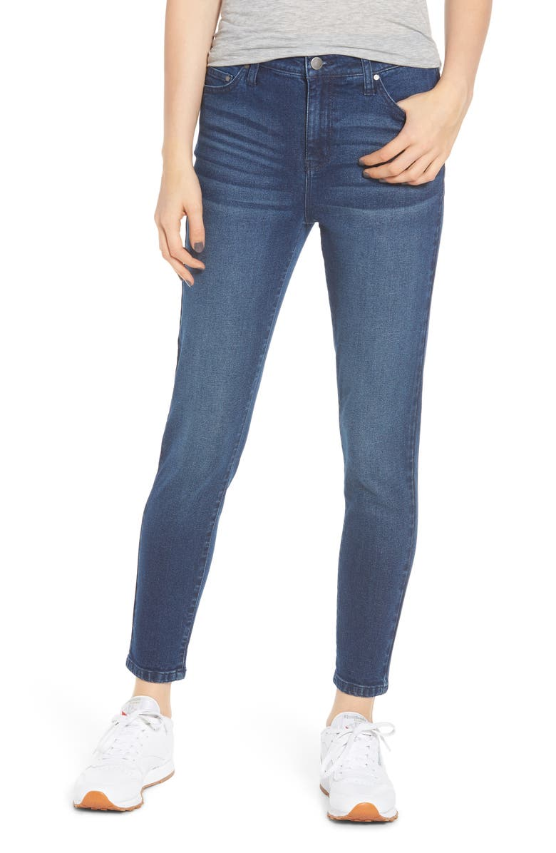 TINSEL High Waist Ankle Skinny Jeans, Main, color, DARK WASH