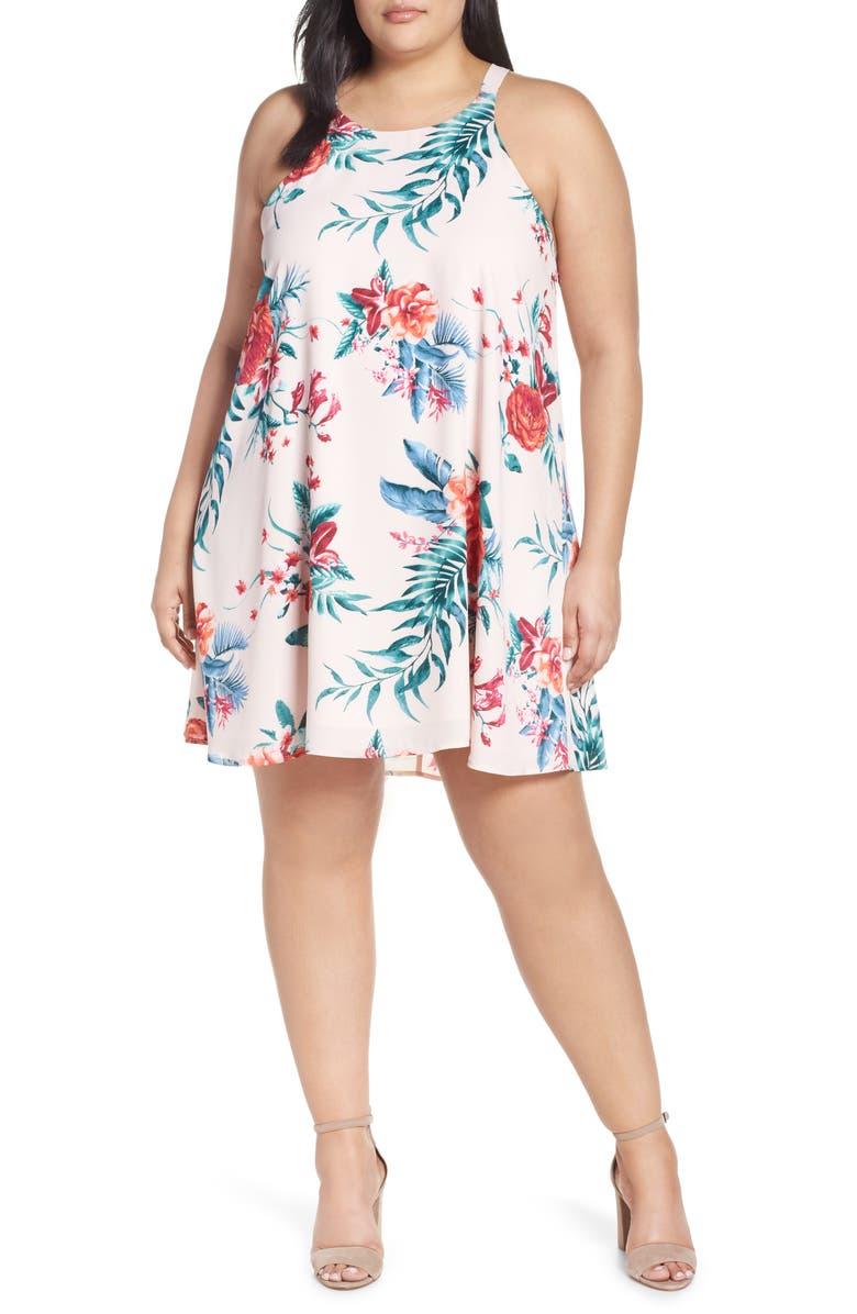 GIBSON x Hi Sugarplum! Naples Swing Halter Dress, Main, color, DAHLIA VINES