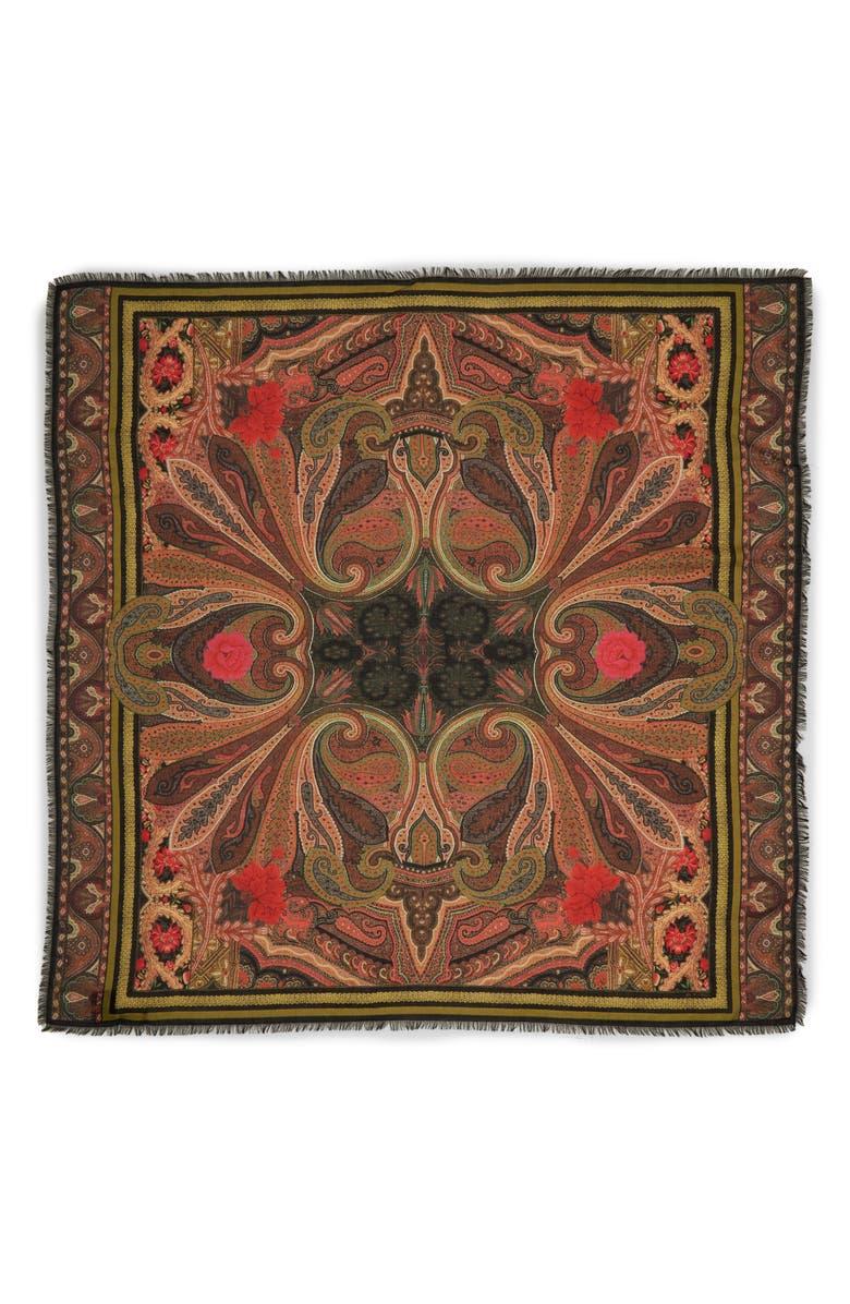 ETRO Torero Wool & Silk Scarf, Main, color, 600