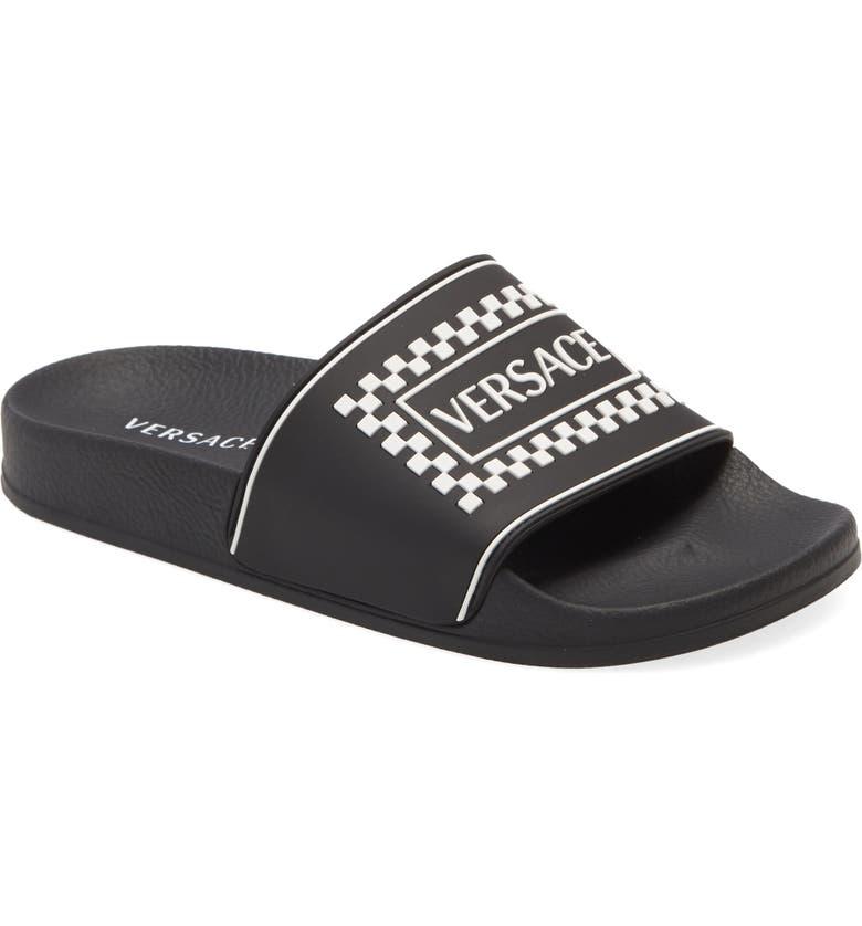 VERSACE First Line Slide Sandal, Main, color, BLACK