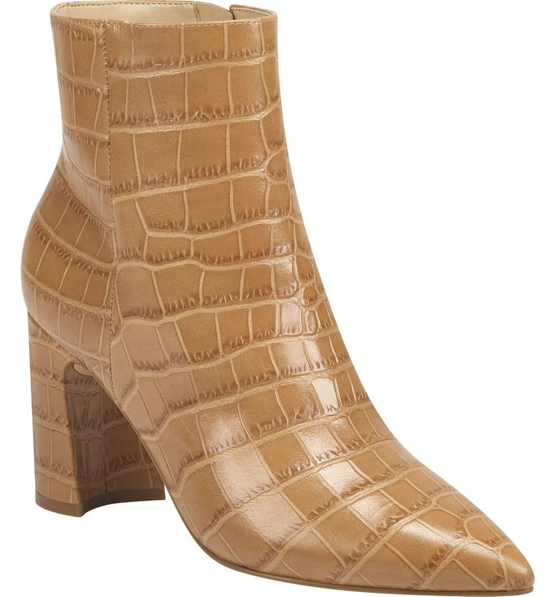 MARC FISHER LTD Daith Pointed Toe Bootie, Main, color, MALDIVES CROC EMBOSSED LEATHER