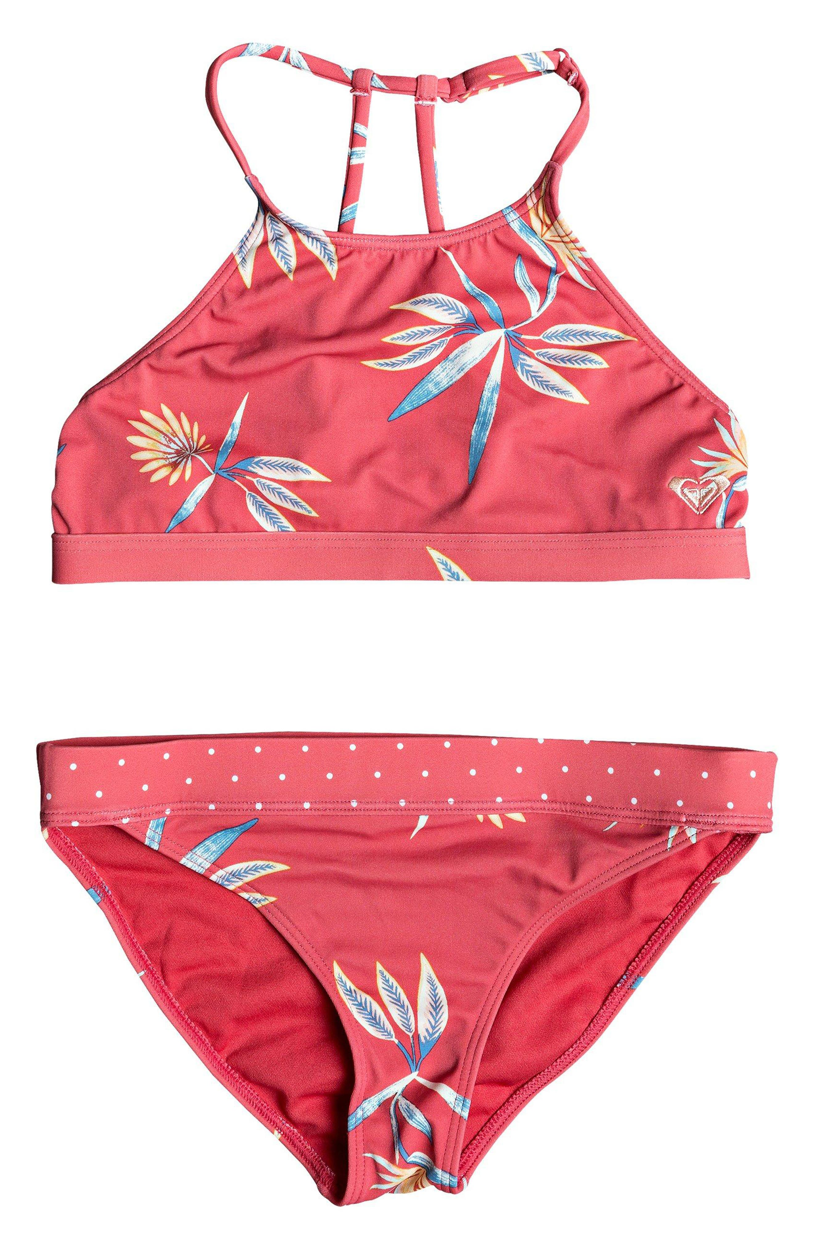 Folky Way Floral & Dot Two-Piece Swimsuit, Main, color, CHRYSANTHEMUM ROUGH FLOWERS