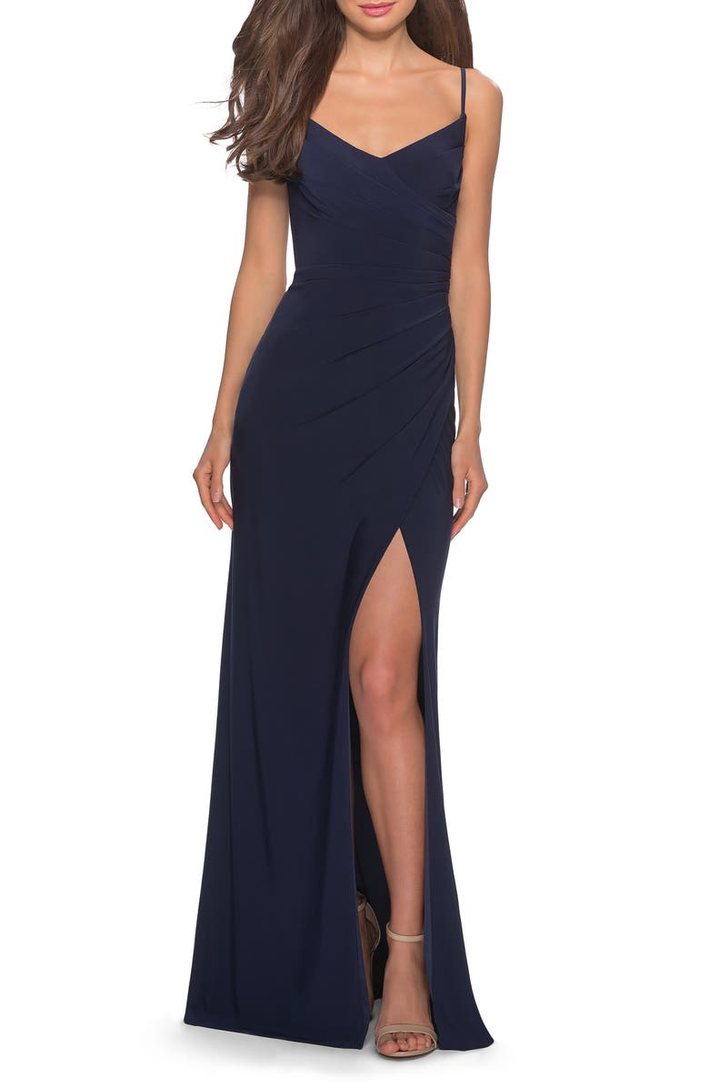 La Femme Ruched Soft Jersey Gown
