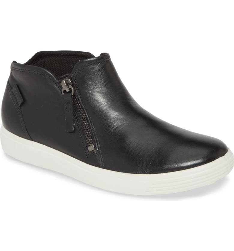 ECCO Soft 7 High Top Sneaker, Main, color, BLACK LEATHER