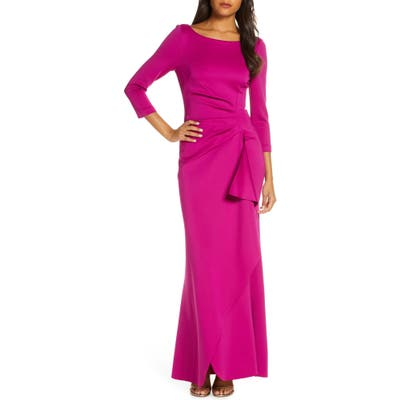 Eliza J Techno Scuba Pleat Evening Dress, Pink