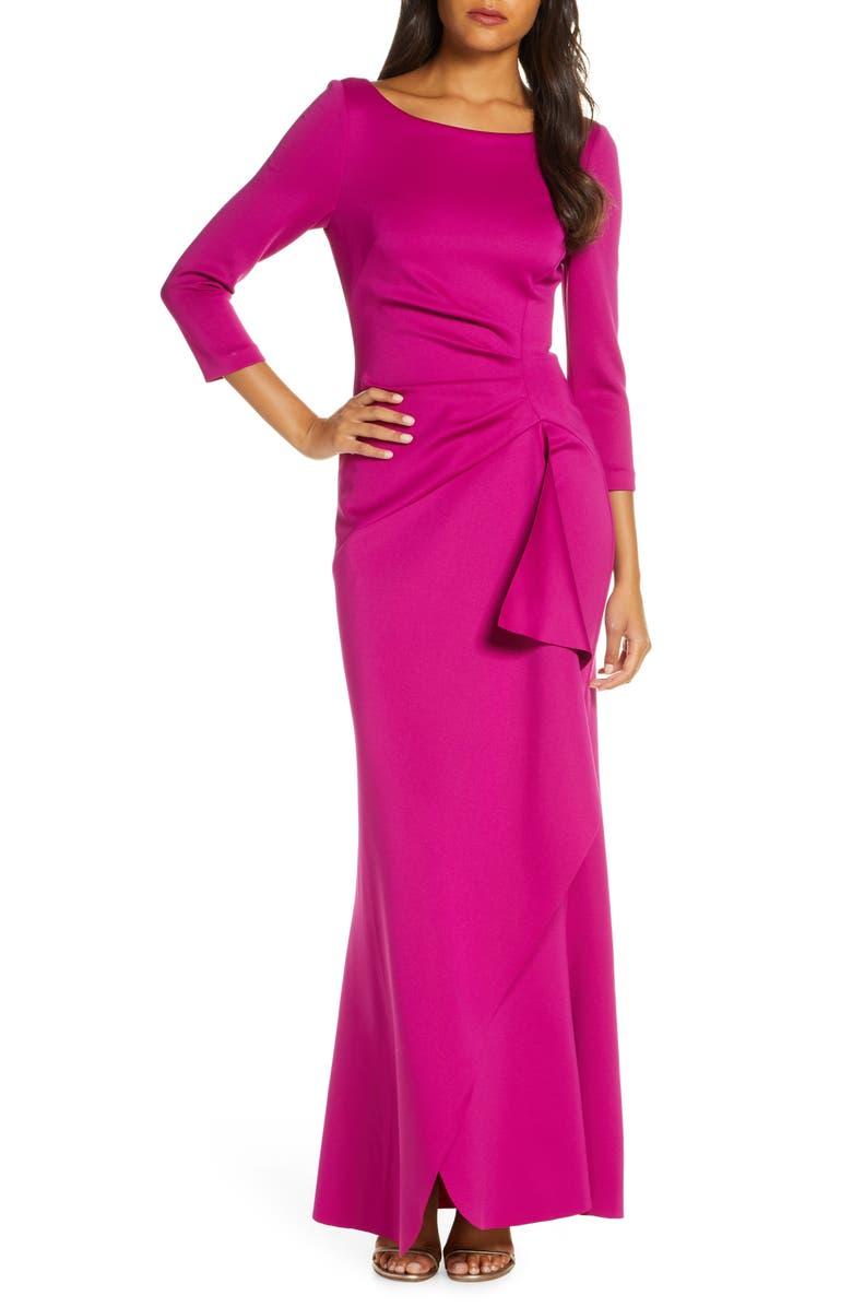 ELIZA J Techno Scuba Pleat Evening Dress, Main, color, ORCHID
