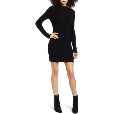 Endless Rose High Neck Ribbed Sweater Dress, Black