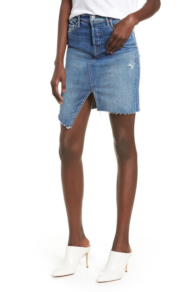 MOTHER The Tomcat Slide Asymmetrical Fray Hem Skirt, Main, color, 420