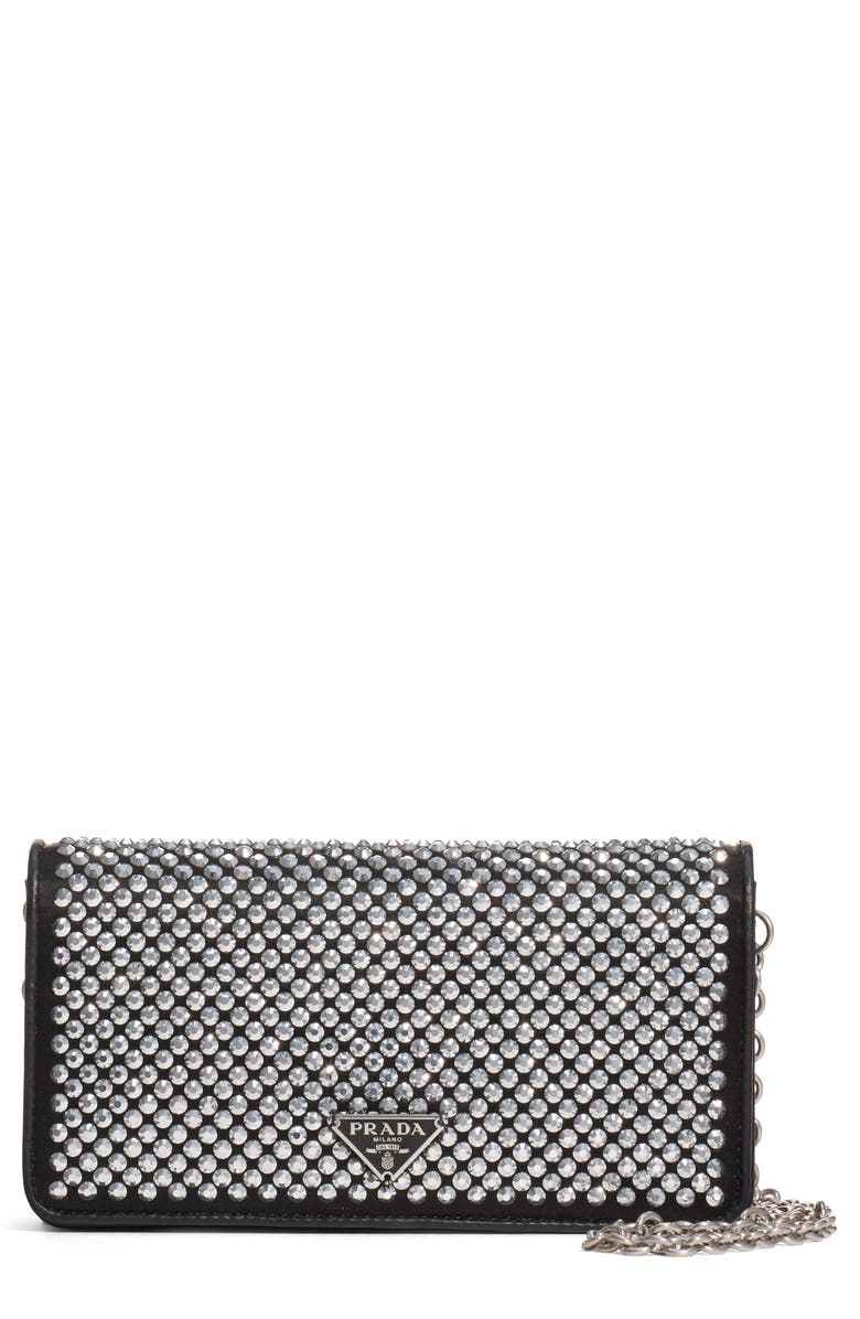 PRADA Crystal Embellished Leather Wallet on a Chain, Main, color, NERO