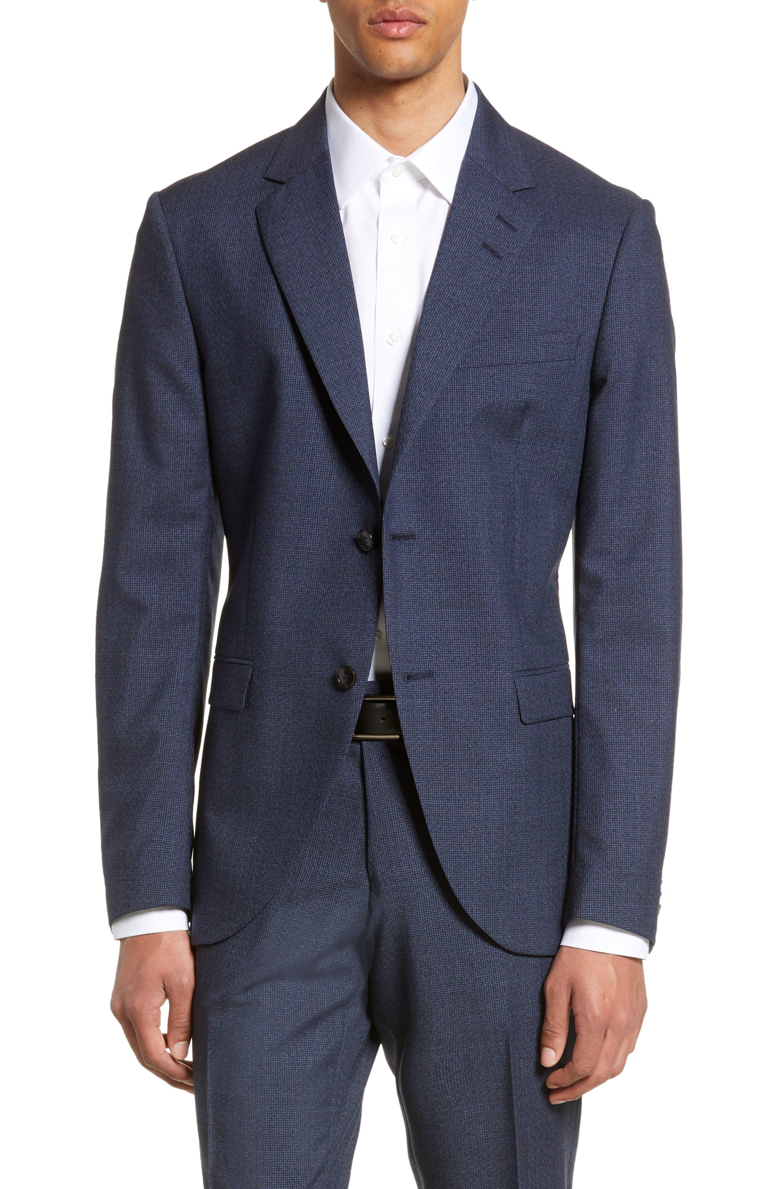 Jamonte Trim Fit Houndstooth Wool Blazer, Main, color, BLUE