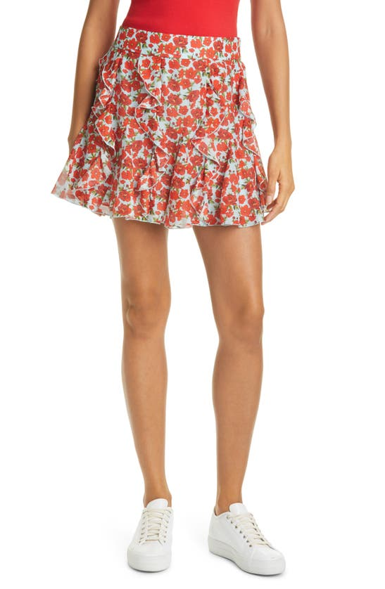 Alice And Olivia SHERLEY FLORAL RUFFLE GODET COTTON & SILK MINISKIRT