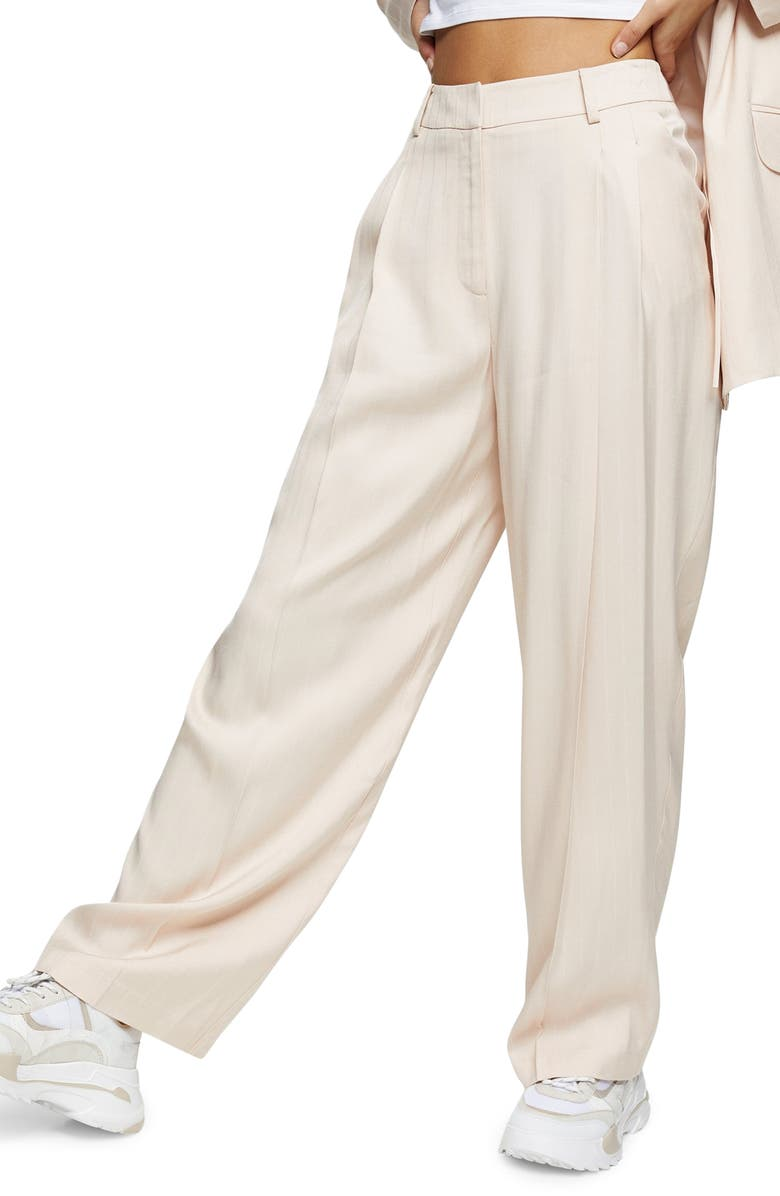 TOPSHOP Stripe Jacquard Trousers, Main, color, NUDE