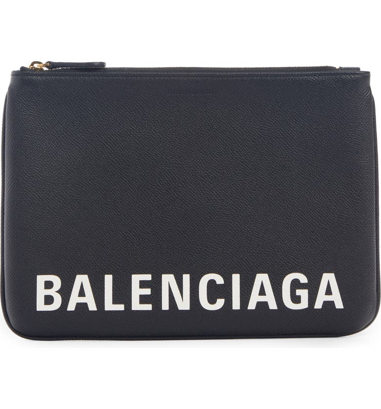 BALENCIAGA Ville Logo Calfskin Leather Pouch, Main, color, BLACK/ WHITE