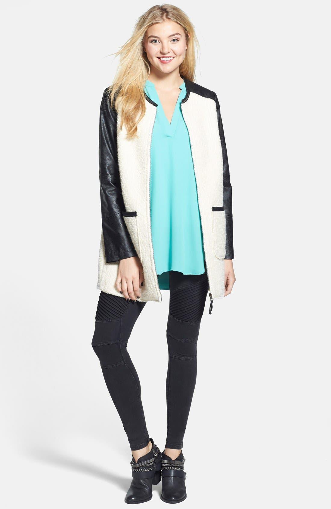 ,                             Colorblock Faux Leather Bouclé Knit Coat,                             Alternate thumbnail 6, color,                             900