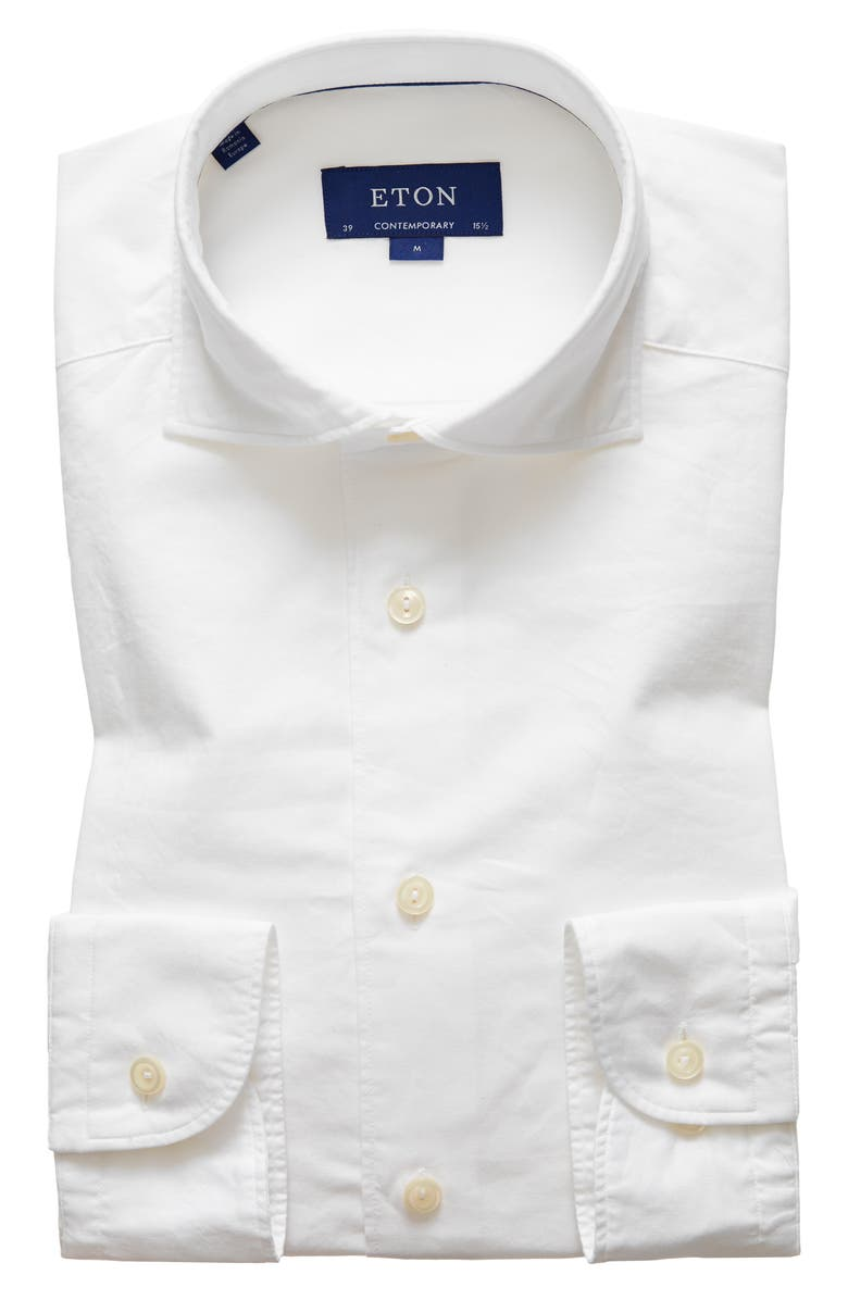 ETON Soft Collection Contemporary Fit Solid Cotton & Silk Shirt, Main, color, WHITE