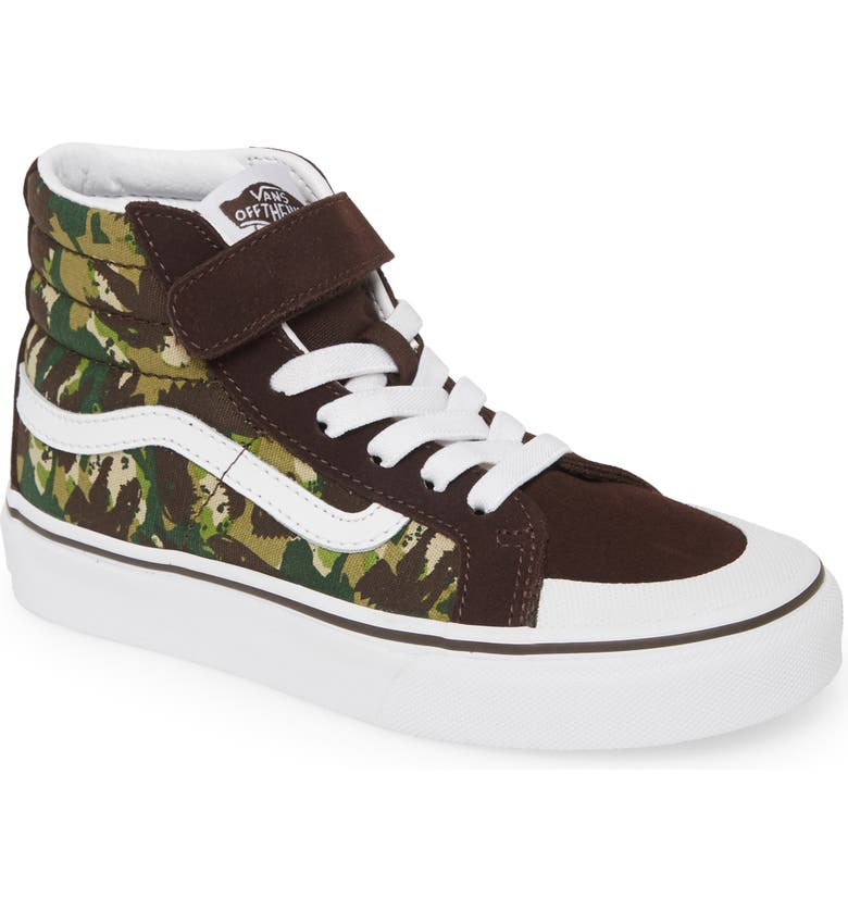 VANS Sk8-Hi Reissue 138 V Animal Camo High Top Sneaker, Main, color, BROWN/ TRUE WHITE