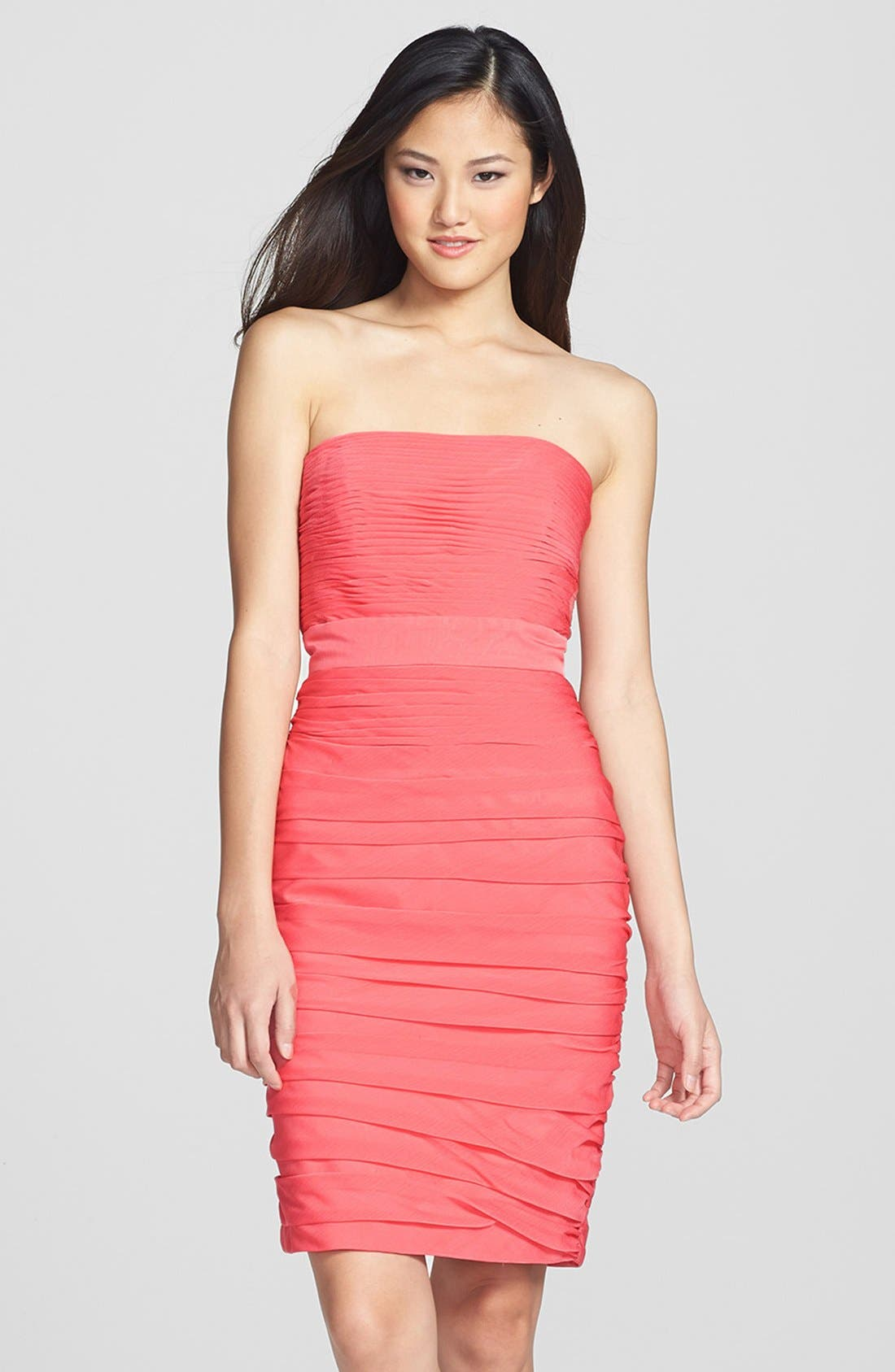 ,                             Ruched Strapless Cationic Chiffon Dress,                             Main thumbnail 75, color,                             805