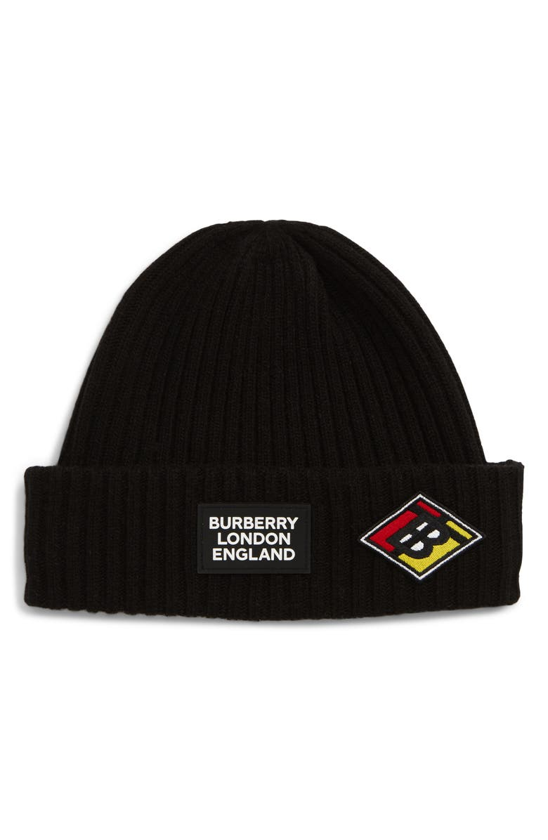 BURBERRY Logo Patch Wool Beanie, Main, color, 001