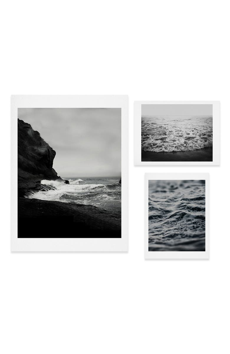 DENY DESIGNS Waves Three-Piece Gallery Wall Art Print Set, Main, color, BLACK/ WHITE