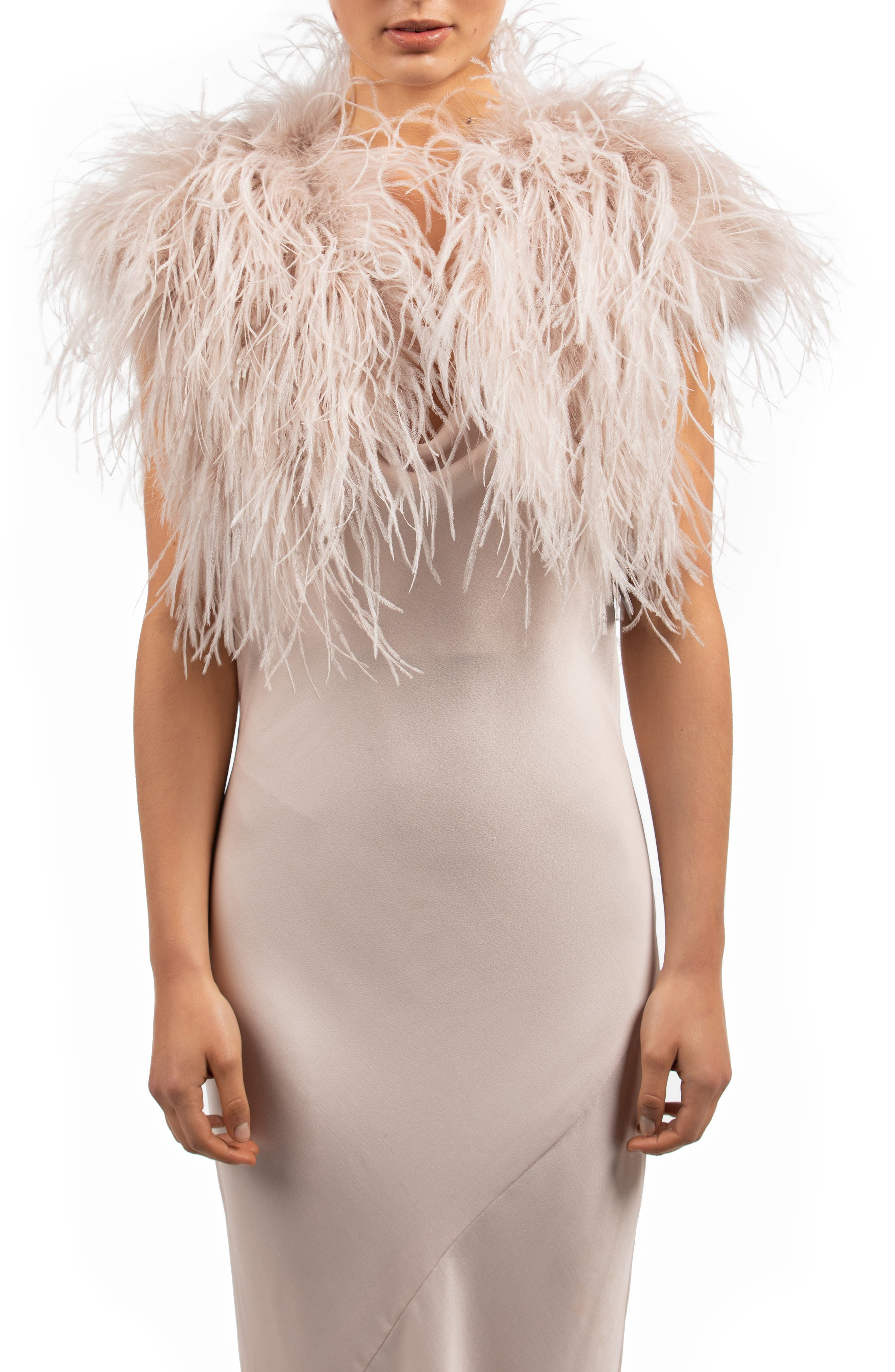 1920s Shawls, Wraps, Scarves, Fur Stole Womens Bubish Berlin Ostrich Feather Bolero Size MediumLarge - Pink $399.00 AT vintagedancer.com