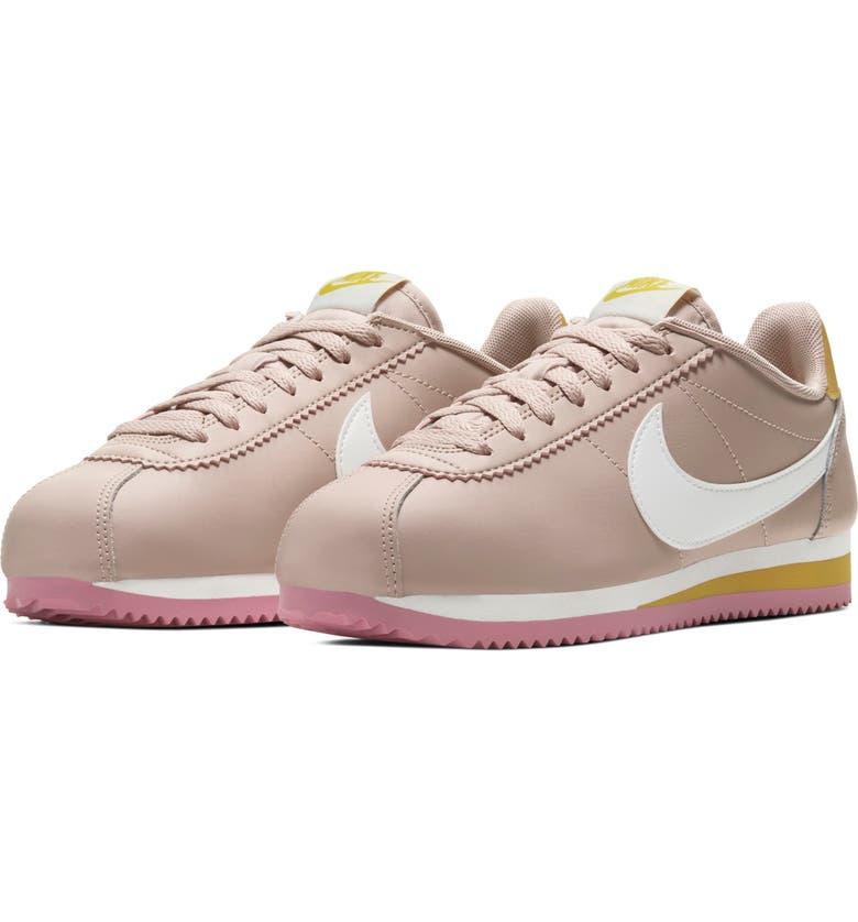 NIKE Classic Cortez Sneaker, Main, color, FOSSIL STONE/ SUMMIT WHITE