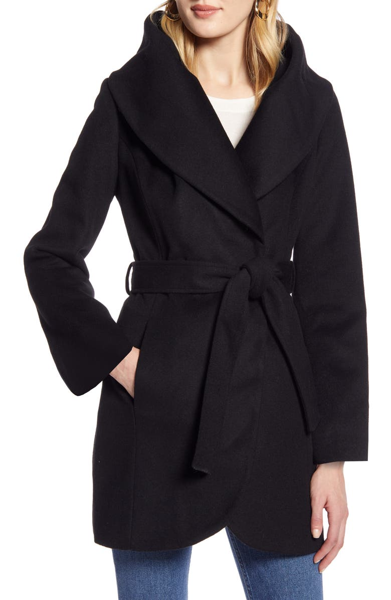 HALOGEN<SUP>®</SUP> Wool Blend Wrap Coat, Main, color, BLACK