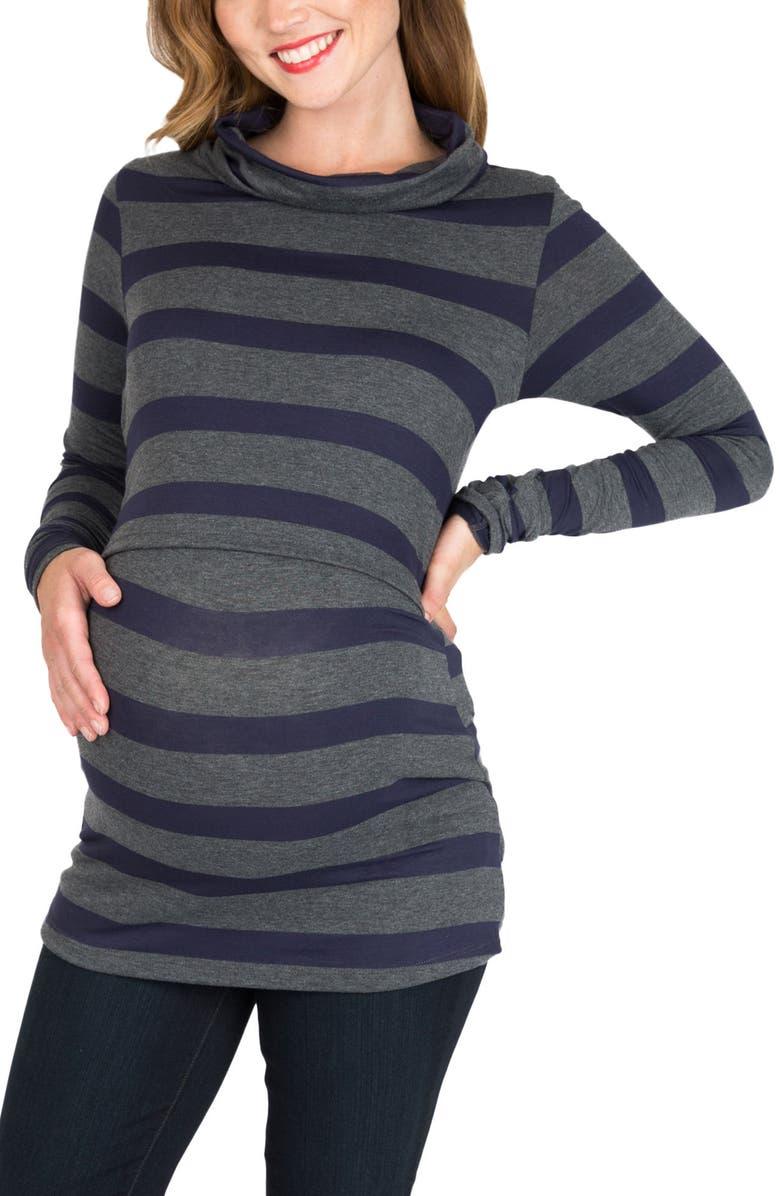 NOM MATERNITY NOM Shelley Maternity/Nursing Turtleneck Tunic, Main, color, 023