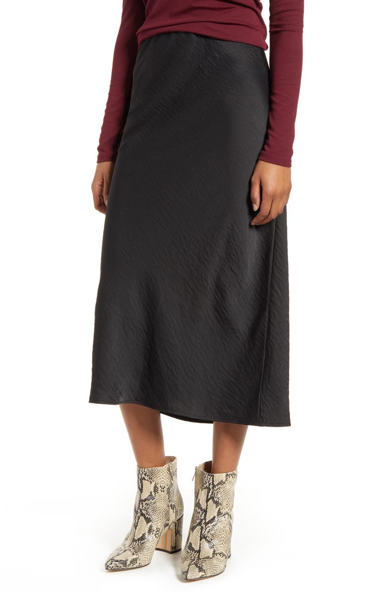 BOBEAU Lyndon Bias Cut Midi Skirt, Main, color, BLACK