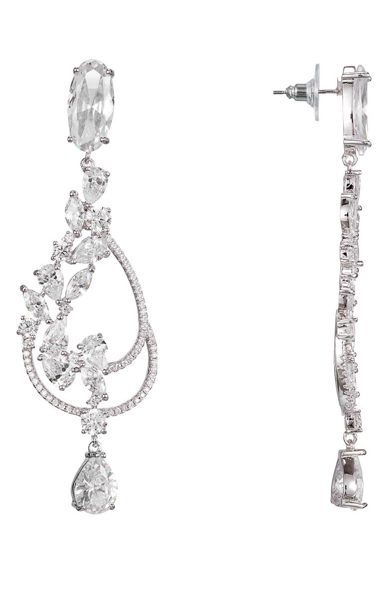 NINA Swirl Cubic Zirconia Drop Earrings, Main, color, RHODIUM/ WHITE CZ