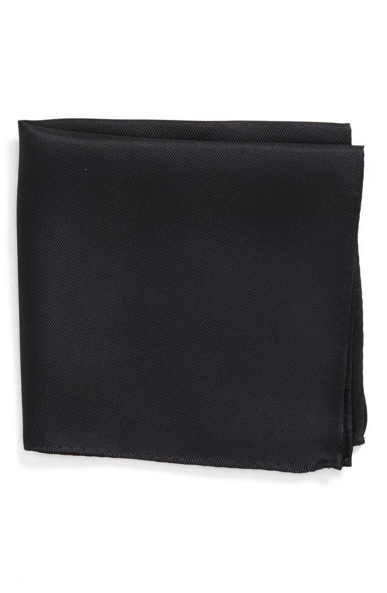 NORDSTROM MEN'S SHOP King Twill Silk Pocket Square, Main, color, BLACK