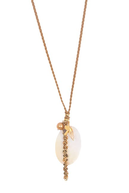 Image of Chan Luu Leather Freshwater Pearl & Stone Pendant Long Necklace