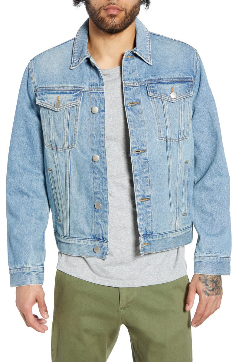 THE RAIL Denim Jacket, Main, color, BLUE TREK WASH