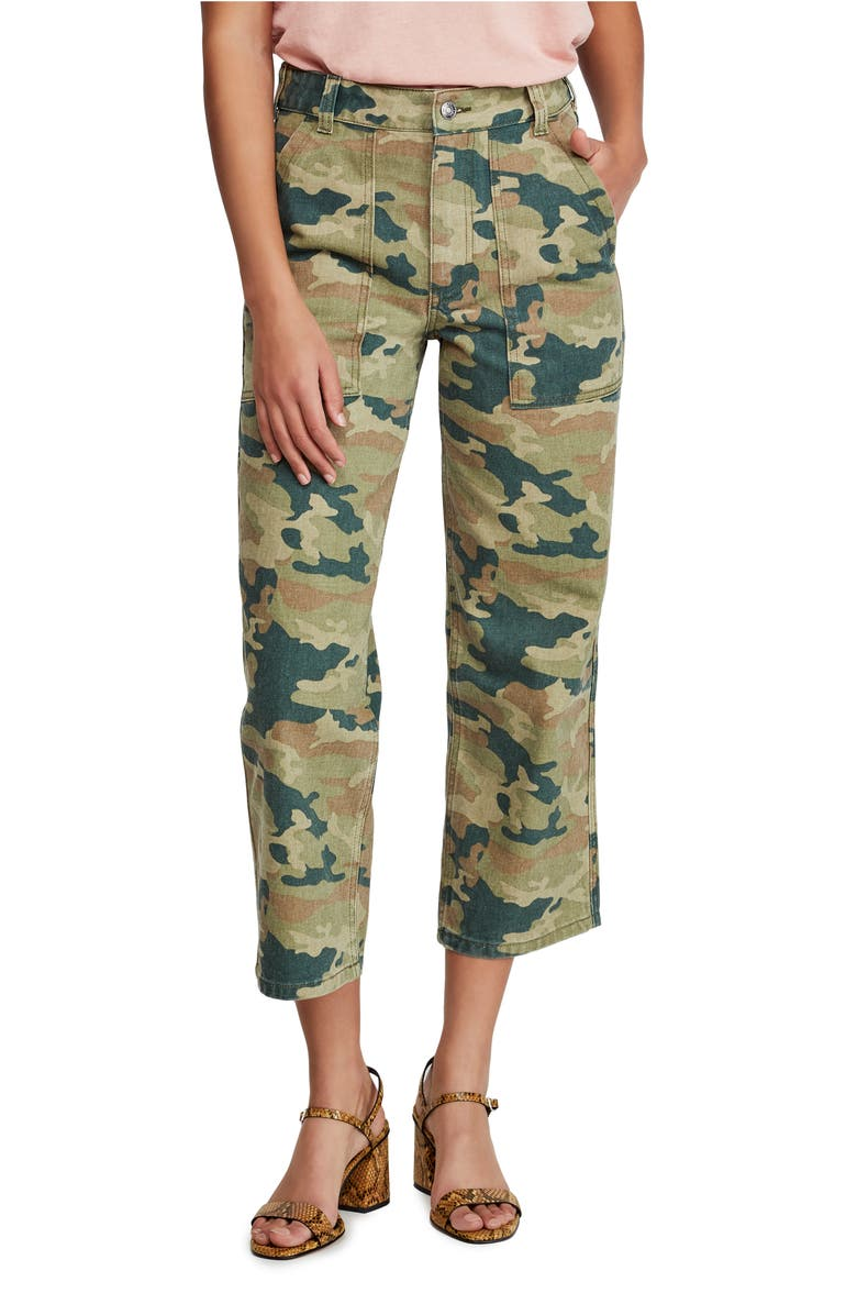 FREE PEOPLE Remy Camo Crop Pants, Main, color, MOSS