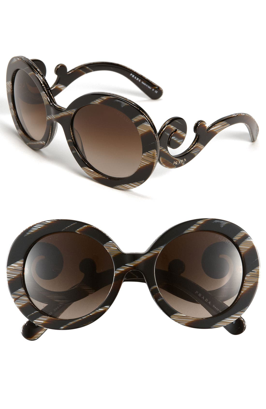 ,                             'Baroque' 55mm Round Sunglasses,                             Main thumbnail 4, color,                             002