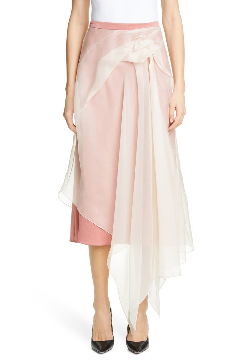 SIES MARJAN Nadine Asymmetrical Overlay Crepe Skirt, Main, color, DARK PEACH