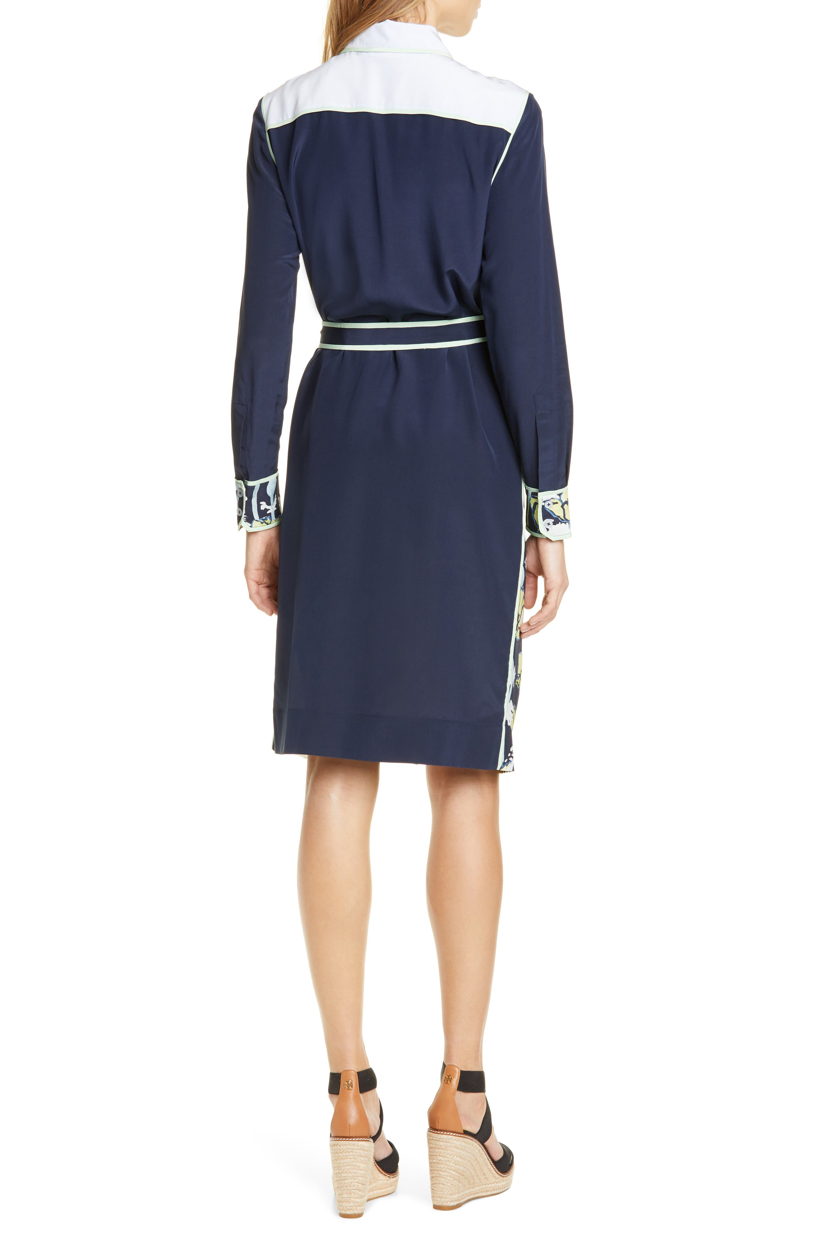 ,                             Silk Patchwork Long Sleeve Dress,                             Alternate thumbnail 2, color,                             NAVY POPPIES BLOOM