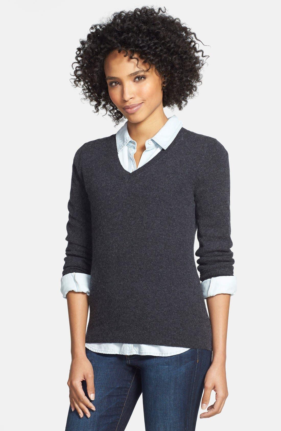 ,                             Cashmere V-Neck Sweater,                             Main thumbnail 5, color,                             020